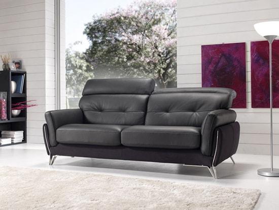canapé aster satis cuir noir contemporain meubles duquesnoy lille