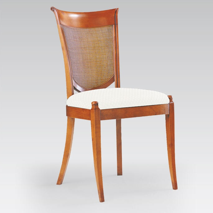 chaise de style garnie tissu vision collinet assise garnie en merisier meubles duquesnoy frelinghien lille nord