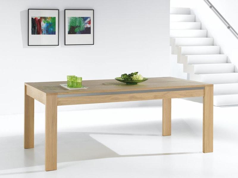 table moderne en chene massif avec allonges ateliers de langres meubles duquesnoy nord lille