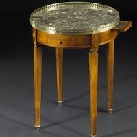 Bouillotte dessus marbre merisier louis XVI meubles duquesnoy frelinghien lille nord
