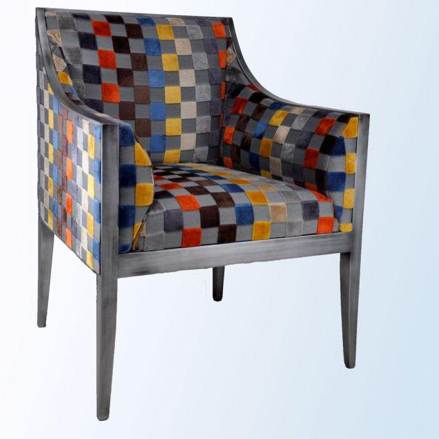 fauteuil guillaume en tissu carre gris metalise meubels duquesnoy frelinghien