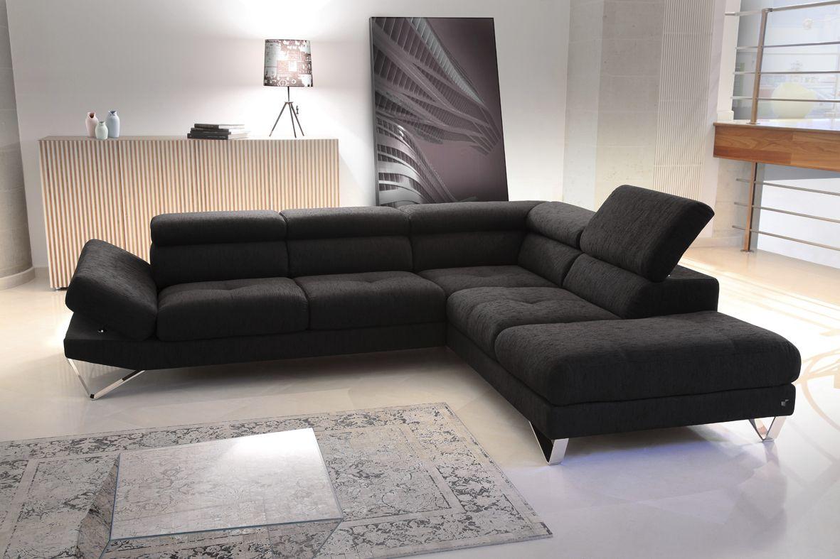 canapé gomez cuir ou tissu noir angle tetieres relevables contemporain meubels duquesnoy lille