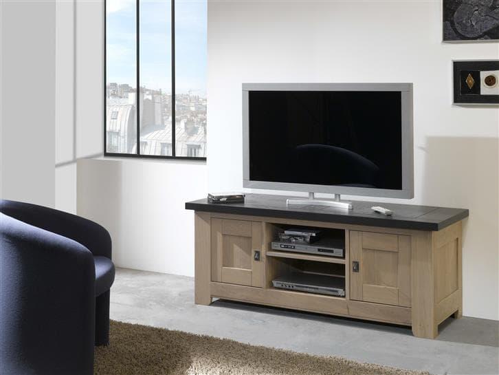 meubel tv whitney en chene massif teinte naturel dessus ardoise fabrication francaise ateliers de langres meubles duquesnoy frelinghien
