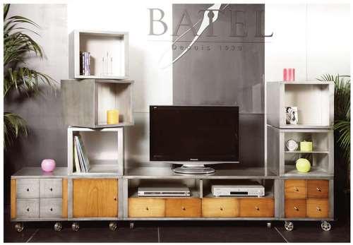 meuble TV bois et effet metal fabrication francaise meubles duquesnoy frelinghien nord lille
