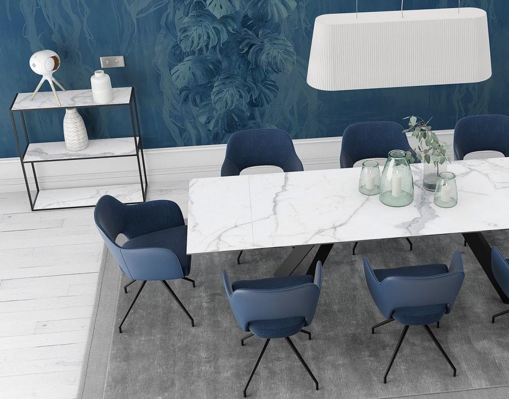 chaise chicago bleu mélange tissus et polyuréthane ch092bl 1