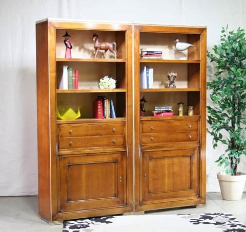 bibliothèque merisier massif fabrication française meubles duquesnoy frelinghien nord lille armentieres