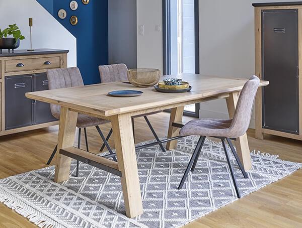 table industrielle bois et metal madison meubles duquesnoy frelinghien nord lille armentieres