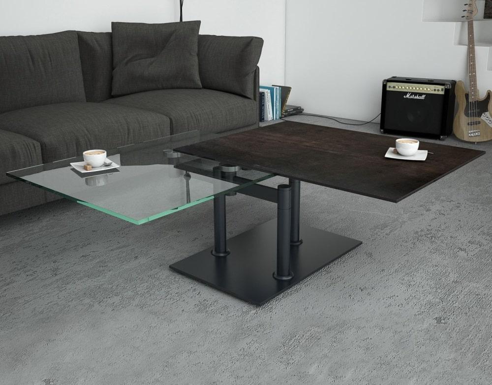 Table Basse OPERA L 90 - Céramique et verre trempé . meubles duquesnoy frelinghien nord lille armentieres