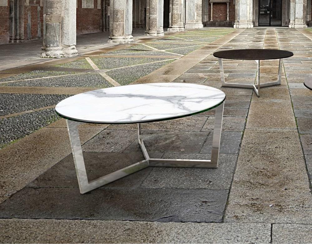 Table de salon TAMARA Ronde diametre 90 céramique blanche marbre mat meubles duquesnoy frelinghien nord lille armentieres