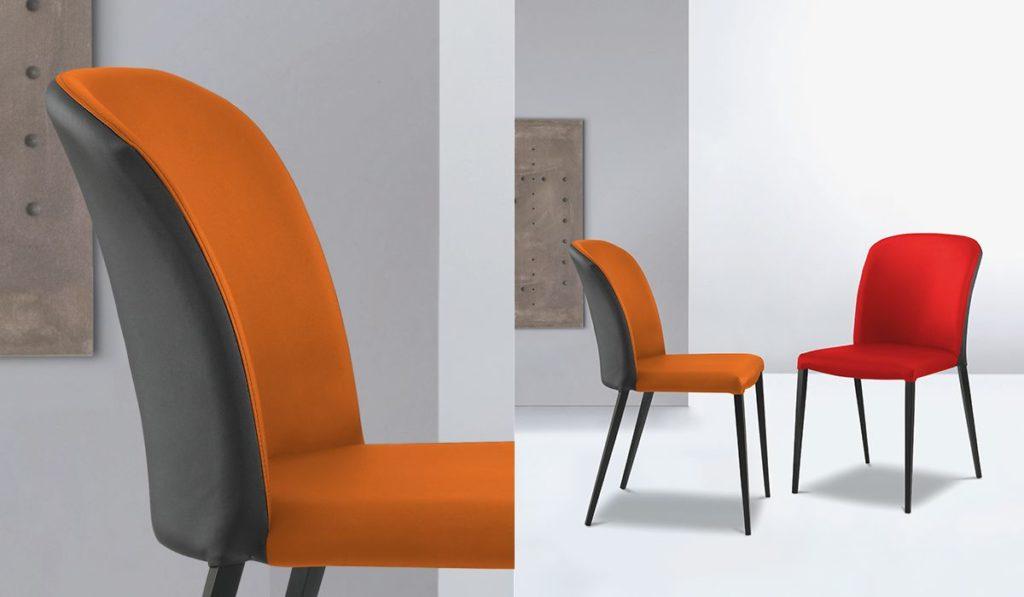 Chaise contemporaine, belle courbure de dossier qui vous assure une assise très confortable C'est une chaise à la carte, vous pouvez choisir le piètement en teinte La gamme de tissu, cuir, pvc est très large. Dimension 46*86*42 Catégorie : Chaises Description