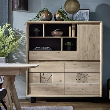 armoirette / bahut haut EDEN chene massif ateliers de langres meubles duquesnoy frelinghien nord lille armentieres