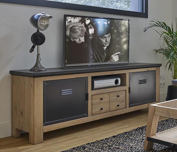 meuble-tv-industriel-bois-metal-grand-meuble-madison Couture Meubles DUQUESNOY Frelinghien Nord Lille Armentieres