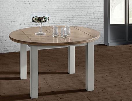 TABLE RONDE ROMANCE EN CHENE FABRICATION FRANCAISE ATELIERS DE LANGRES MEUBLES DUQUESNOY FRELINGHIEN NORD LILLE ARMENTIERES