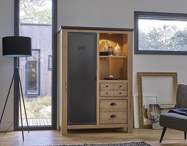 vitrine-industrielle-bois-metal-grand-meuble-madison Couture Meubles DUQUESNOY Frelinghien Nord Lille Armentieres