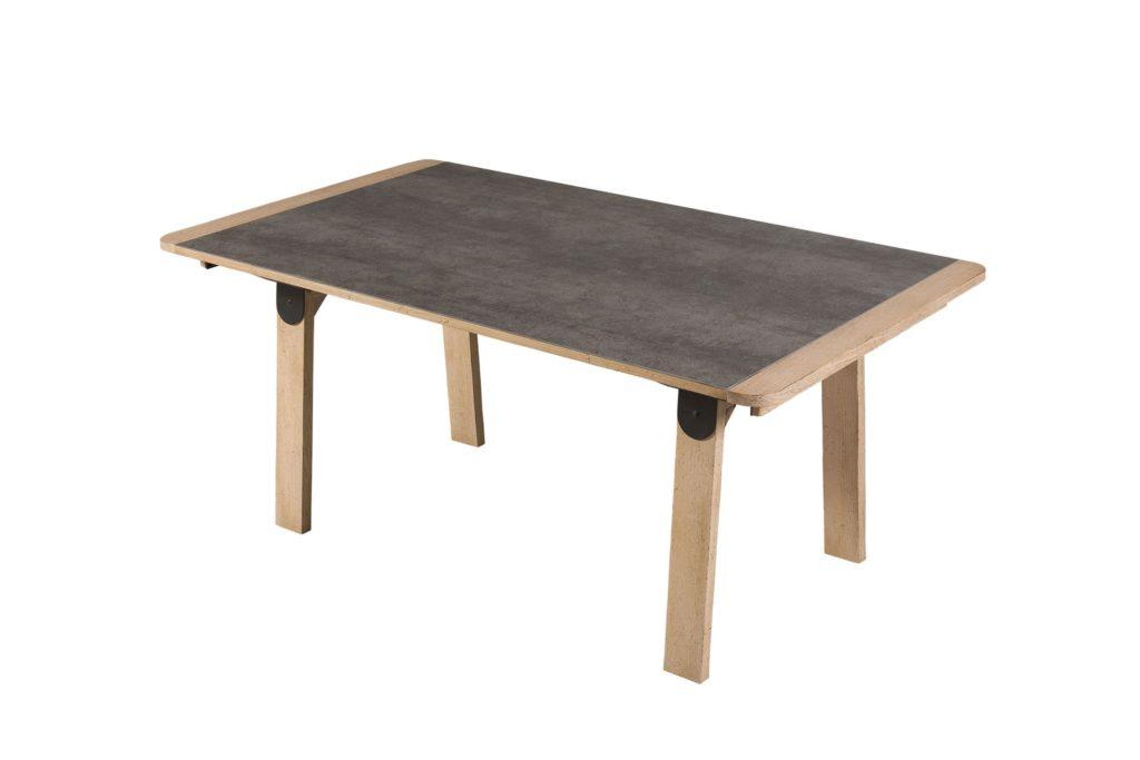 Table rectangulaire symbiose bois et céramique michel ferrand meubles duquesnoy frelinghien nord lille armentieres