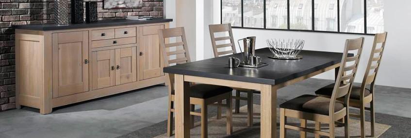 salle a manger whitney meuble whitney en chene massif teinte naturel dessus ardoise fabrication francaise ateliers de langres meubles duquesnoy frelinghien