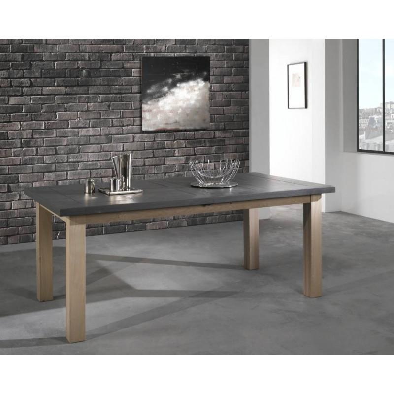 salle a manger whitney table de sejour rectangulaire whitney en chene massif teinte naturel dessus ardoise fabrication francaise ateliers de langres meubles duquesnoy frelinghien
