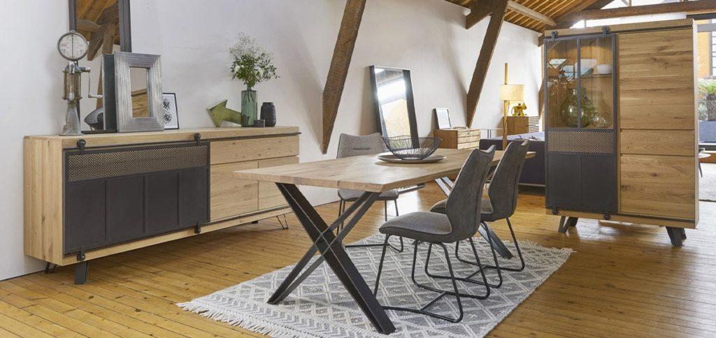 salle a manger style industriel Fusion Couture meubles duquesnoy frelinghien nord lille armentieres