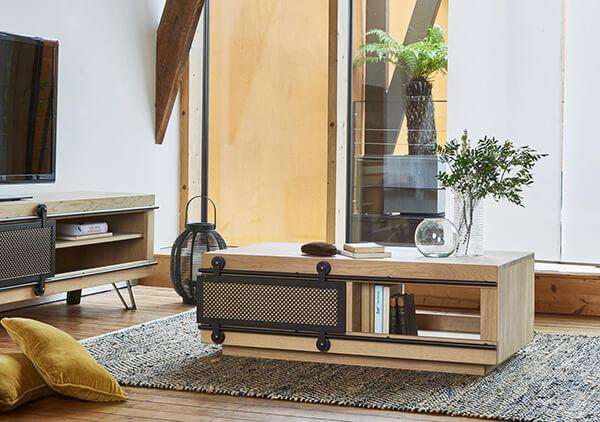 Table rbasse industrielle Fusion Couture meubles duquesnoy frelinghien nord lille armentieres