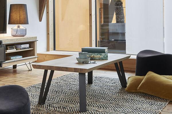 Table basse rectangulaire industrielle Fusion Couture meubles duquesnoy frelinghien nord lille armentieres