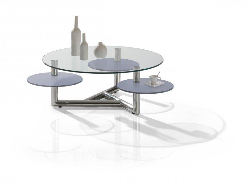 Table basse ronde Manhattan en verre avec 2 plateaux pivotants Meubles DUQUESNOY FRELINGHIEN NORD LILLE